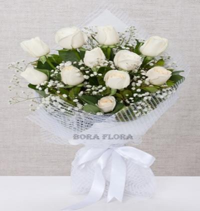 Bora Flora 11 Beyaz Gül Buketi