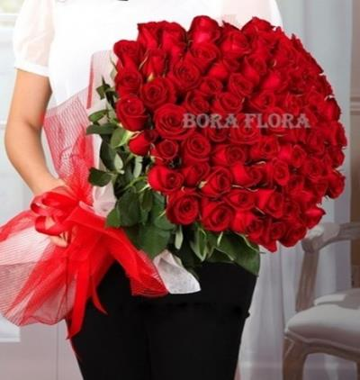 Bora Flora 101 Kırmızı Gül Buketi