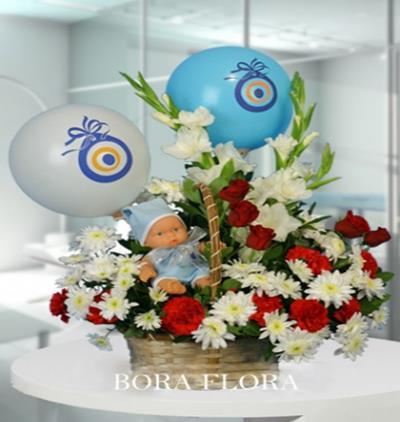 Bora Flora yeni doğan erkek bebek aranjmanı (örnek)