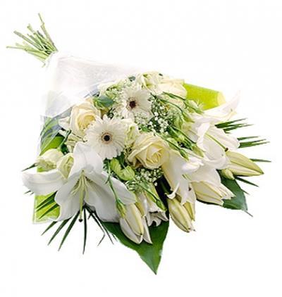 Marmaris Çiçek Beyaz Lilyum Gül Gerbera Buketi