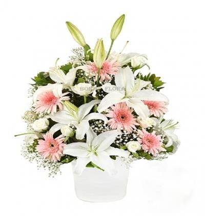 Bora Flora Seramikte Lilyum Pembe Gerberalar
